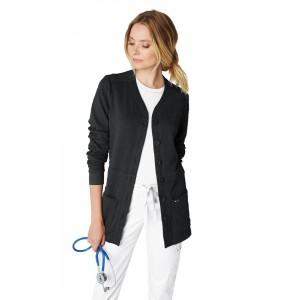 chaqueta sanitario estilo cardigan color negro